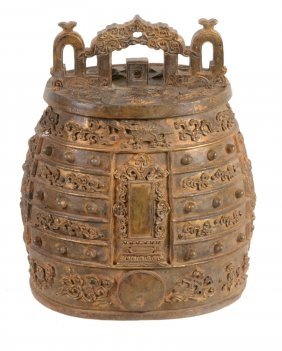 A Chinese Gilt-bronze Ritual Bell, Variously Cast