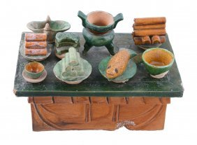A Chinese Sancai Glazed Pottery Model Of An Altar Table