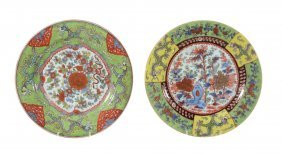 A Pair Of Chinese 'clobbered' Plates, The Porcelain