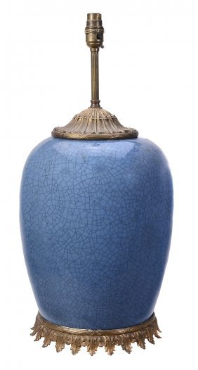 A Chinese Blue Crackle-glazed Vase, Late 19th Or 20th