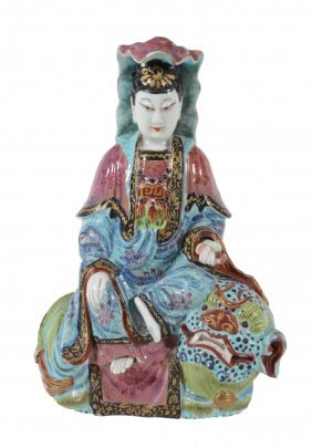 A Chinese Famille Rose Figure Of Quanyin, Late Qing