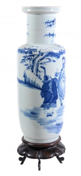 A Chinese Blue And White Rouleau Vase, 20th Century,