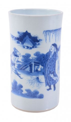 A Chinese Blue And White Brush Pot, Bitong, In