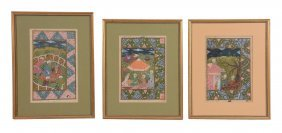 A Decorative Group Of Eight Indian Miniature Paintings,