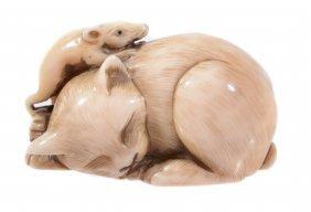 An Unusual Ivory Netsuke Of A Cat, The Feline Lies