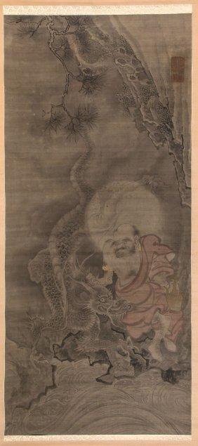 A Japanese Sumi-e Kakejiku In Inks And Gilding On Silk