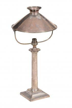 A Silver Plated Table Lamp , With Swivel Silver Shade,