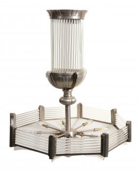 A Metal And Glass Mounted Electrolier In Art Deco