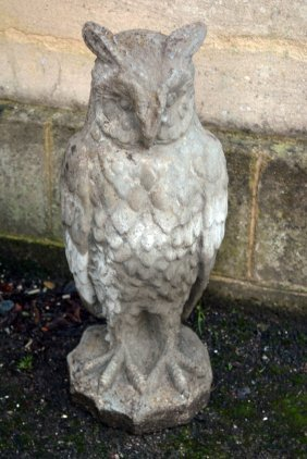 A Reconstituted Stone Garden Model Of An Owl, 20th