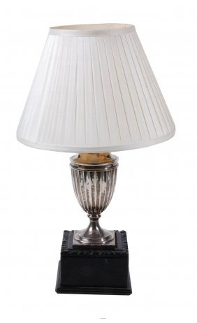 An Edwardian Silver Urn Fitted As A Table Lamp,