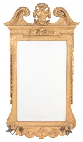 A Carved And Giltwood Wall Mirror In George Ii Style ,
