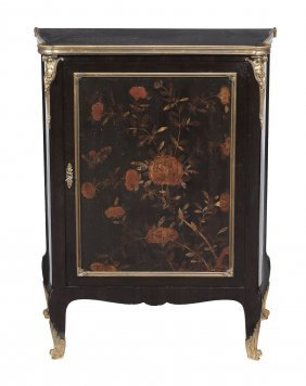 A French Black Lacquer And Brass Mounted Side Cabinet ,