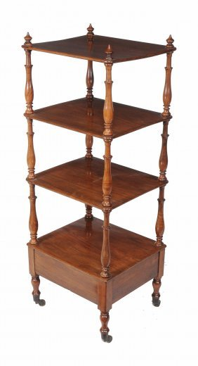 A George Iv Mahogany Four Tier Whatnot , Circa 1825,