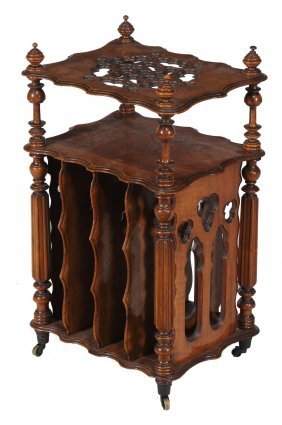 A Victorian Walnut Canterbury Whatnot, Circa 1870, 71cm