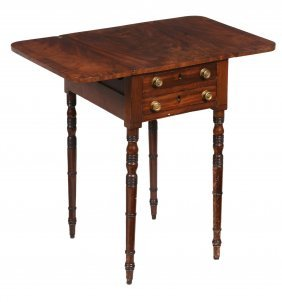 A Regency Mahogany And Rosewood Crossbanded Work Table