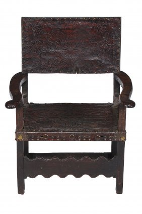 A Continental Oak And Studded Leather Chair , Late