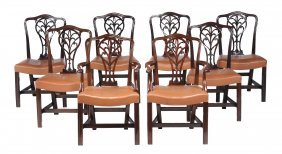 A Matched Set Of Eight Mahogany Dining Chairs In George