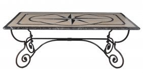 A Marble Mounted Wrought Iron Centre Or Dining Table In