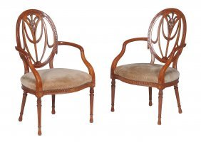 A Pair Of Satinwood Elbow Chairs , In George Iii Style