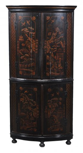 A George Ii Japanned Two Tier Bow Front Corner Cupboard