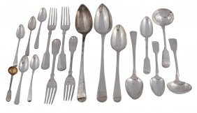 Assorted English Silver Flatware, George Iii And Later