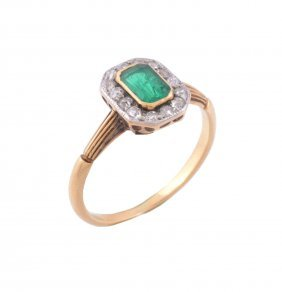 An Emerald And Diamond Cluster Ring , Circa 1920