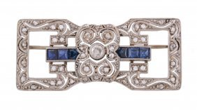 A Late Art Deco Sapphire And Diamond Brooch, Circa 1940