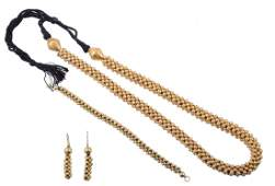 A gold coloured bead necklace, composed of polished and