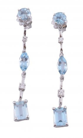A Pair Of Aquamarine And Diamond Ear Pendents, Set With