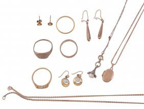 A Small Collection Of Gold Jewellery, To Include A