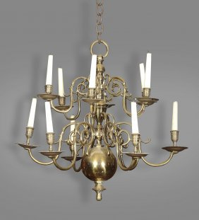 A Brass Twelve Branch Chandelier In Dutch Style ,