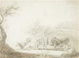 Anthony Devis (1729-1816) - Cows in a landscape