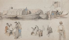 Samuel Prout (1783-1852) - Venetian Barges And Figures
