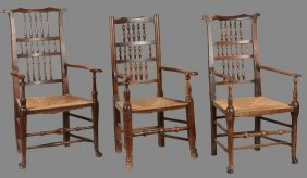 A Harlequin Set Of Eight Oak And Elm Spindle Back