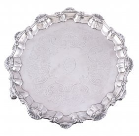 A George Iii Silver Shaped Circular Salver By Elizabeth