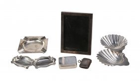 A Collection Of Silver Items, To Include: A Pair Of
