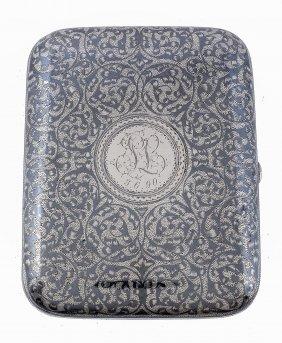 A Russian Silver And Niello Rectangular Cigarette Case