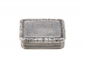 A George Iv Silver Rectangular Small Vinaigrette By