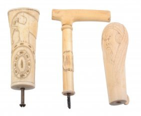 Three Waking Stick Handles, Comprising: An Angled Ivory