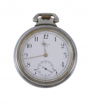 Waltham, A White Metal Open Face Pocket Watch, No