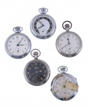 A Collection Of Five White Metal Keyless Wind Open Face