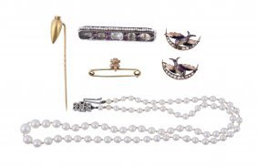 A Small Collection Of Antique Jewellery , Comprising A