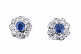 A Pair Of Sapphire And Diamond Cluster Ear Studs