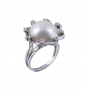 A Mabe Pearl And Diamond Dress Ring, The Central Mabe