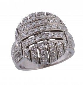 A Diamond Bombe Dress Ring, The Pierced Domed Panel Set