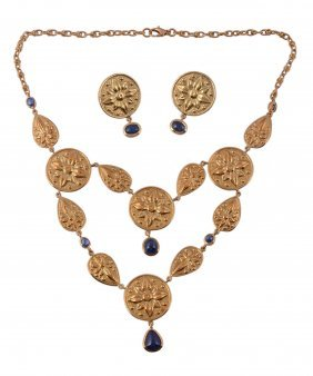 A Sapphire Necklace And Earring Suite, Composed Of Two