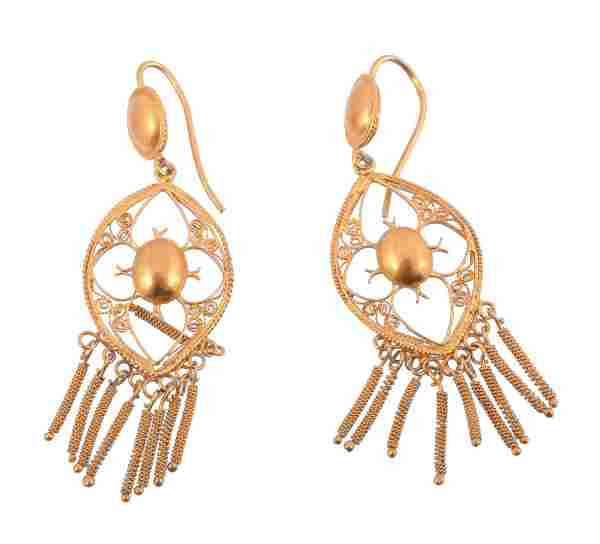 A pair of gold coloured filigree ear pendants