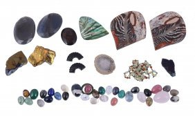 A Collection Of Hardstone Eggs, The Polished Eggs Of