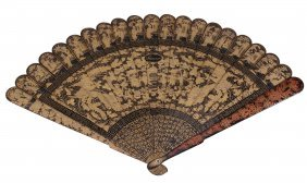 A Chinese Export Lacquer Fan , 19th Century