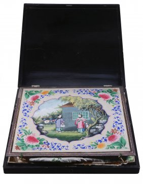 A Chinese Export Black Lacquer And Gilt Decorated Box,